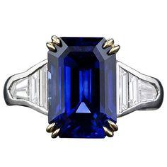 8.10 carat Emerald Cut Sapphire and Baguette Diamond Ring