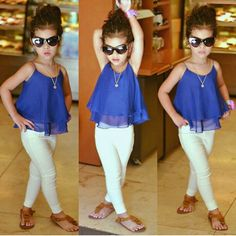 Blue top with white pantsTo place order DM us or whatsapp on 6394837380 Little Girl Outfits, Little Girl Fashion, Little Girl Dresses, Toddler Outfits, Kids Outfits, Cute Outfits, Cute Kids Fashion, Toddler Fashion, Baby Dress Design
