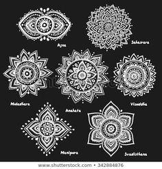 Isolated Set of beautiful ornamental 7 chakras - Tattoos - Henna Tattoos, Kunst Tattoos, Body Art Tattoos, Small Tattoos, Sleeve Tattoos, Tiny Tattoo, 7 Chakras, Sept Chakras, Dotwork Tattoo Mandala