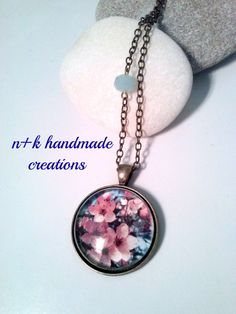Floral glass handmade pendant. by thenkcreations on Etsy