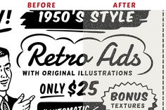 """Retro ad templates made in the style of 1950s print ads featuring ORIGINAL illustrations and our """"Automatic Texturizer"""" photoshop effect preset and bonus textures. --- WHAT YOU GET 17"""