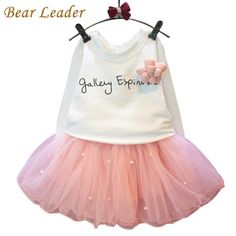 eaee1efb99fc Lovely Girls White Tee Shirt and Pink Skirt With Rhinestone Clothes Set for  Kids Girl Autmn