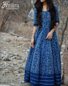 Indigo Muse - Floor Length Indigo Maxi Dress in Bagru Printed Cotton Indian Designer Outfits, Indian Outfits, Designer Dresses, Indian Gowns Dresses, Pakistani Dresses, Stylish Dresses, Fashion Dresses, Cotton Gowns, Cotton Maxi Dresses