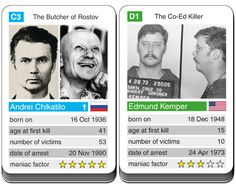 card game Notorious Serial Killers - Andrei Chikatilo versus Edmund Kemper Criminal Profiling, Famous Serial Killers, Investigation Discovery, Cold Hearted, Finger Lakes, Criminal Justice System, True Crime, Horror Stories, Investigations