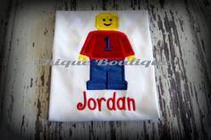 Lego Man Monogrammed Shirt- Applique- Girls Shirt- Boys Shirt- Embroidered Shirt-Newborn- Birthday t shirts on Etsy, $24.00