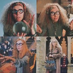 Divination teacher at Hogwarts whose foreseeing abilities were often undermined, yet it was she who made the prophecy regarding the one to defeat the Dark Lord, accurately predicted the escape of Peter Pettigrew and the return of Voldermort. She also predicted Dolores Umbridge's fate which lead Dolores to dismiss her, attempting to banish her from Hogwarts, but  was saved by Dumbledore. She fought in the battle at Hogwarts. #HarryPotter #HermioneGranger #RonWeasley #SybillTrelawney… Peter Pettigrew, Emma Thompson, Dark Lord, Ron Weasley, Hermione Granger, Hogwarts, The Darkest, Battle, Harry Potter