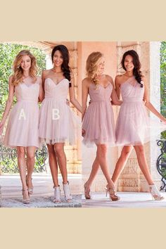 Mismatched Short Tulle Junior Cheap Wedding Bridesmaid Dresses, Over are the days when bridesmaids shrink from their dresses. Now, with this type of wide collection of dress styles available, ch Tulle Wedding, Wedding Bridesmaids, Wedding Dresses, Prom Dresses, Pink Bridesmaid Dresses Short, Short Dresses, Dress Silhouette, Ladies Dress Design, Dream Dress