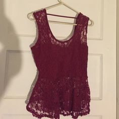 Maroon peplum top Flowy maroon/burgundy lace top. Never worn, perfect condition, tag still attached. Wet Seal Tops