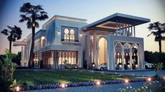 1-Exterior. The exterior has Arabian elements blended in with a modern look. In this picture you can see the Arabian arches in the front with smooth clean modern look on the rest of the house.