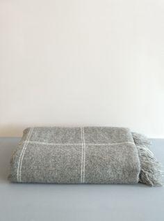 Woven Blanket  Ecru Check