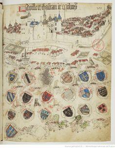 « Registre d'armes » ou armorial d'Auvergne, dédié par le hérault Guillaume REVEL au roi Charles VII.  Date d'édition :  1401-1500  Français 22297  Folio 369