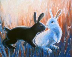Painting «Rabbit Kiss» by Nadine Lière, Acrylic on canvas board, 50 x 40 cm, 2014, grenadine-art.eu