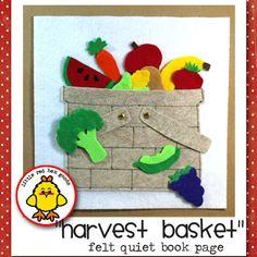 Página de libro tranquila cesta cosecha de 9 x 9.  Muy alta calidad. Me enorgullezco de mi trabajo! Mucha atención al detalle.  Tome un viaje al mercado. Carga de todo tipo de deliciosas frutas y verduras. Asas de la cesta son movibles. Frutas y verduras se almacenan en la cesta.  Fomenta el juego imaginativo, aprendizaje de colores y motricidad fina.  Opción 1: Plain Jane. Página será como es. Asegúrese de tener en cuenta que usted podrá ver las costuras en la parte posterior.  Opción 2…