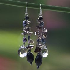 Nocturnal Symphony - Pearl & Sterling Silver Dangle Earrings at The Veterans Site