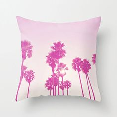 La La Land Pink Palm Trees, Decorative Pillow Cover, California, Summer Home And…