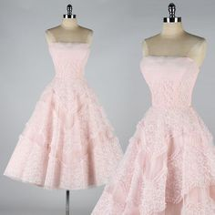 vintage 1950s dress . EMMA DOMB . pink lace by millstreetvintage, $335.00