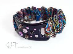 Dark violet Murano glass and cotton stretch bracelet-unique handmade glass wide bracelet-flower bracelet-italian artisan designer bracelet - pinned by pin4etsy.com