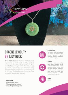 Orgone jewelry by Judy Huck Tree Of Life Symbol, Affordable Art, Clear Quartz, Framed Art Prints, Washer Necklace, Jewelry, Design, Jewlery, Jewerly