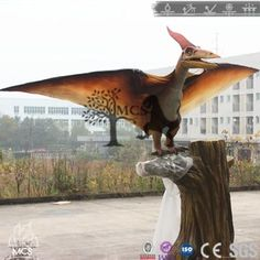 This simulation pteranodon model is according to the pterosaur& inherent characteristics. Which famous for its crown crest. The pteranodon animatronic model may have feathers. Dinosaurs Series, Sound Effects, Steel Frame, Moose Art, Creatures, Sky, Feathers, Model, Painting