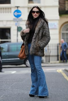 Clutch & Carry-on - Faux Fur coat with denim flares - 70's style