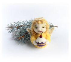 Needle Felted Fairy Angel with Сake Wool Felt Angel Figurine