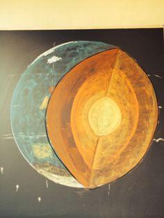 Periode Mineralogie. Doorsnede van de aarde.