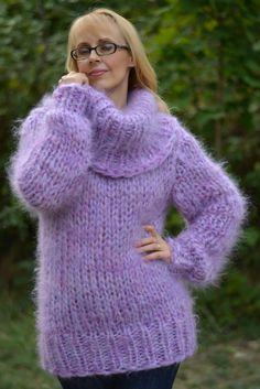 ORDER hand knitted mohair sweater handmade mohair jumper Cowlneck sweater chunky…