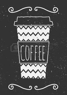 Hand getrokken kopje koffie met chevron patroon en decoratieve elementen Krijtbord stijl vector illu Stockfoto