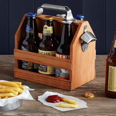Wooden Beer Caddy with Bottle Opener | six pack | UncommonGoods
