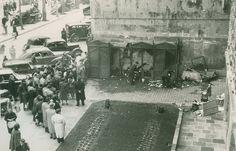 Destrucción por un incendio de las casetas de escribientes en el centro de Barcelona (1954)