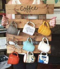 This coffee rack is great for those who are lacking in storage space! Color and wording may be modified! Great gift