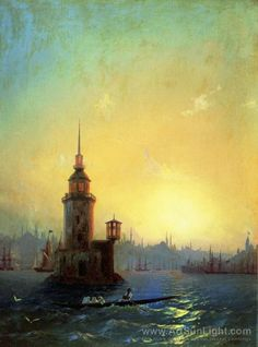 Ivan Aivazovsky's oil painting View of Leandrovsk tower in Constantinople