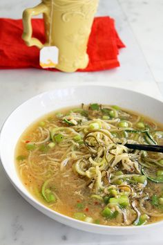 ginger scallion zucchini noodle bowl