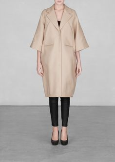 & Other Stories image 1 of Bell-sleeve cotton coat in Mole Light