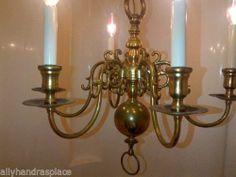 Vintage Dutch Colonial Williamsburg Style Brass Chandelier Holland | eBay 1495 Dutch Colonial, Wall Lights, Ceiling Lights, Colonial Williamsburg, Brass Chandelier, Candle Sconces, Light Up, Holland, Candles
