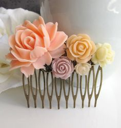 Bridal Wedding Style. Peach Ivory Taupe Rose Blossoms Collage Antiqued Brass Filigree Statement Hair Comb. Bridesmaids Gift