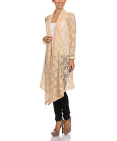 Another great find on #zulily! Cream Floral Paisley Lace Open Duster #zulilyfinds