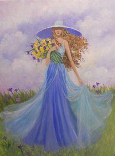 Lady walking through the meadow by Dian Bernardo
