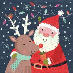 Joanne Cave   Advocate Art Christmas Mood, Christmas Crafts, Christmas Scenes, Happy Birthday Floral, Paperchase, Line Friends, Santa And Reindeer, Christmas Illustration, Christmas Pictures