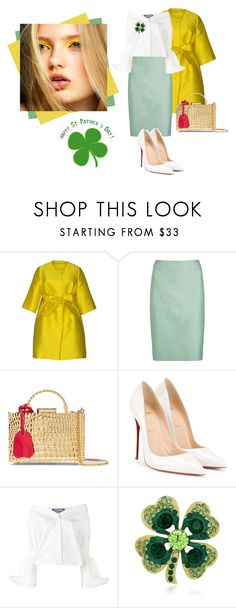 """""""Happy St. Patrick's day from me in Ireland! 100% Irish chick 🍀"""" by curlysuebabydoll ❤ liked on Polyvore featuring P.A.R.O.S.H., Armani Collezioni, Mark Cross, Christian Louboutin and Jacquemus"""