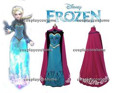 Disney Film Frozen Elsa's Coronation outfit Dress Cosplay Costume *Adult US Size S-XL*