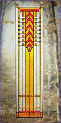 Arts and Crafts Tall Prairie Window Art Glass Panel 7 MRG007