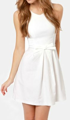 This one's certified fresh, so grab the Hot Off the Precious Ivory Dress while it's hot! This darling woven dress in off-white has plenty of stretch along the fitted, sleeveless bodice, with flattering princess seams and a rounded neckline that doesn't dip too low for more modest affairs. #lovelulus
