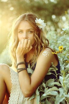 moodboard -flower in hair -bracelets