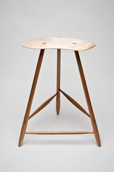 Wharton Esherick Inspired Curly Maple and Cherry Stool by fillingham $900