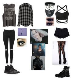 """""""Untitled #182"""" by shadowprincess101 ❤ liked on Polyvore featuring Topshop, H&M, Converse, Jonathan Aston, Poizen Industries and Gotta Flurt"""