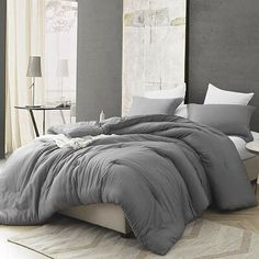 Shop for Croscutt - Cavern Gray - Oversized Comforter - Cotton Bedding. Get free delivery On EVERYTHING* Overstock - Your Online Fashion Bedding Store! Comforter Sets, Bed, Chic Bedroom, Cotton Bedding, Grey Bedding, Comfortable Bedroom, Bedding Sets, Grey Comforter Bedroom, Grey Comforter