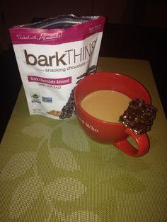 Yum coffee & barkthins #breakupwithboring #barkthins