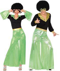 Déguisement de couple disco verts pour adultes : Déguisement disco vert femmeCe déguisement pour adulte représentant une danseuse disco, ilse compose d'un haut et d'un pantalon (perruque et chaussures non...