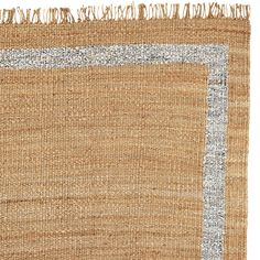 Jute Border Rug – Metallic Silver   Serena & Lily   Would a 3x5 work in front of the sinks instead of a runner?  LOVE this rug with the metallic trim.